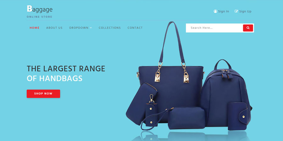 Baggage an Ecommerce Bootstrap Template