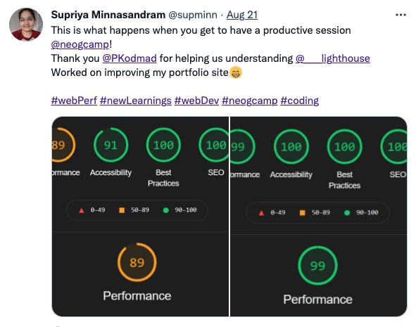 @supminn says - This is what happens when you get to have a productive session @neogcamp! Thank you @PKodmad for helping us understanding @____lighthouse.Worked on improving my portfolio site