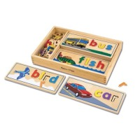 Melissa & Doug, See and Spell Wooden Educational Toy With 8 Double-Sided Spelling Boards a