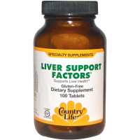 Country Life, Liver Support Factors, Gluten Free - 100 Tablets