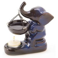 ELP, Ceramic Elephant Figure Oil Warmer Candle Holder Decor