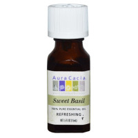 Aura Cacia, 100% Pure Essential Oil, Sweet Basil, Refreshing - 0.5 fl oz (15 ml)