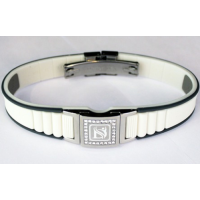 DR-ion, Resizable Negative Ion Wristband with Clasp & Swarovski Head - White