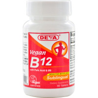 Deva, Vegan Vitamin B12, Sublingual, 2500 mcg - 90 Tablets