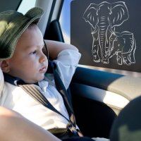 Just-f-Care, Car Sun Shades, Friendly ZOO Animals Edition (Elephants) - 2 Pack