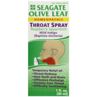 Seagate, Homeopathic Olive Leaf, Throat Spray, Raspberry Spearmint - 1 fl oz (30 ml)