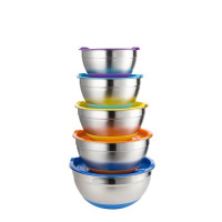 KTCW, Non Slip Stainless Steel Mixing Bowls With Lids - Set of 5