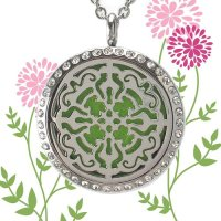 SSD, Aromatherapy Necklace, for Oils or Perfume- Flower of Life Pendant Stainless Steels