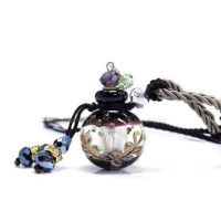 UPmall, Handmade Glazed Glass Aromatherapy Necklace Essential Oil Diffuser Pendant with Or