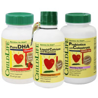 ChildLife, 3 Mixed Set Happy Zone Products (Liquid Calcium + Pure DHA + Probiotics)