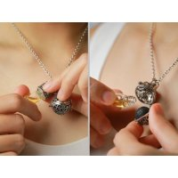 MalaOne, Aromatherapy Necklace Essential Oil Diffuser Locket Pendant with Bottle Lava Rock