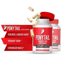 Ponytail, Ponytail Women's Hair Growth Vitamins with Biotin - 60 Capsules