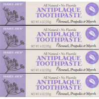Trader joe's, All Natural Antiplaque Toothpaste, No Fluoride - 6 Oz. (170 Gram) X 4 Packs