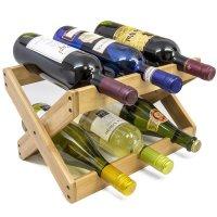 Sorbus, Bamboo Foldable Countertop Wine Rack 6-bottles