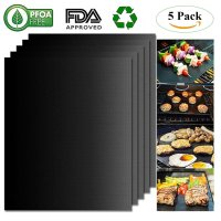 Belle Dura, FDA-Approved BBQ Grill Mats Non Stick Set of 5 Barbecue Mats