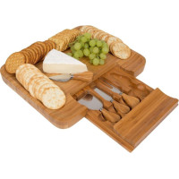 TRI, Bamboo Cheese Serving Tray with Hide-Away Utensil Set