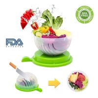 Exeblue, Salad Maker Vegetable Fruit Bowl Cutter & Strainer (Green)