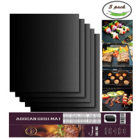 Aoocan, 100% Non-stick BBQ Grill & Baking Mats - Set of 5 (Black)