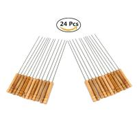 VLF, 12 inch Stainless Steel Barbecue Skewers with Wood Handle - 24 Pcs