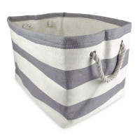 DLL, Woven Paper Textured Collapsible Storage Basket - Large (Gray Stripe)