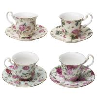 GCR, Chintz 3-Ounce Porcelain Espresso Cup and Saucer with Gold Trim - Set of 4