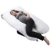 Bluestone, Full Body Maternity Pillow with Contoured U-Shape (White)