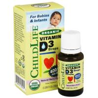 ChildLife, Organic Vitamin D3 Drops, Natural Berry Flavor, 400 IU - 0.338 fl oz (10 ml)