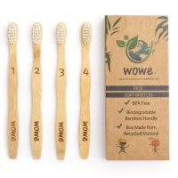 Wowe, Kids Natural Organic Bamboo Toothbrush Individually Numbered - Pack of 4