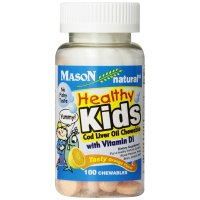 Mason Naturals, Healthy Kids Cod Liver Oil Chewable with Vitamin D, Tasty Orange Flavor -