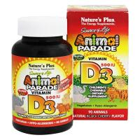 Nature's Plus, Animal Parade, Vitamin D3, Natural Black Cherry Flavor, 500 IU - 90 Animals
