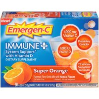 Emergen-C, Immune+, Vitamin D Fizzy Drink Mix, Super Orange Flavor, 30 Count - 9.9 oz (279