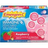 Emergen-C, Immune+, Vitamin D Fizzy Drink Mix, Caffeine Free, Raspberry Flavor, 30 Count -