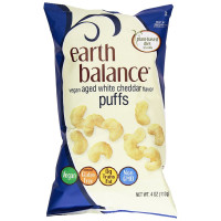 Earth Balance, Gluten Free Vegan Snacks, Aged White Cheddar Flavor Puffs - 4 oz (113 g)
