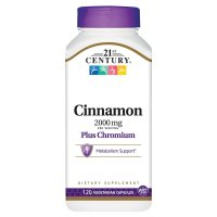 21st Century, Cinnamon Plus Chromium, 2000 mg - 120 Veggie Caps