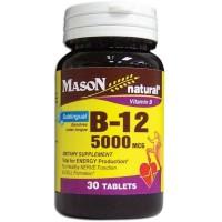 Mason Naturals, Vitamin B-12, 5000 mcg - 30 Sublingual Tablets