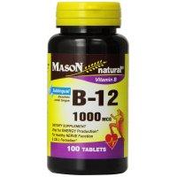 Mason Naturals, Vitamin B-12, 1000 mcg - 100 Sublingual  Tablets