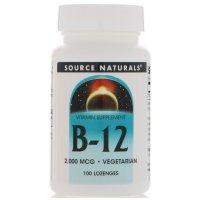 Source Naturals, B-12, Sublingual, 2,000 mcg - 100 Tablets