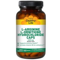 Country Life, L-Arginine L-Ornithine Hydrochloride Caps, 1000 mg - 180 Capsules