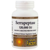 Natural Factors, Serrapeptase, 120,000 SU - 60 Delayed Release Vegetarian Capsules