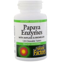 Natural Factors, Papaya Enzymes - 120 Chewable Tablets