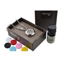 MESN, FLower of Life Stainless Steel Aromatherapy Necklace Gift Set