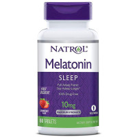 Natrol, Melatonin, Sleep, Fast Dissolve, Strawberry, 10 mg - 60 Tablets