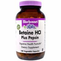 Bluebonnet Nutrition, Betaine HCl, Plus Pepsin - 180 Veggie Caps