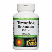 Natural Factors, Turmeric & Bromelain, 450 mg - 90 Capsules