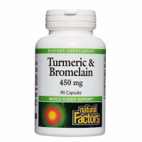 Natural Factors, Turmeric & Bromelain, 450 mg - 90 Capsules