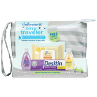 Johnson's, Tiny Traveler, Baby Bath And Baby Skin Care Products, Travel Gift Set (5 Items)