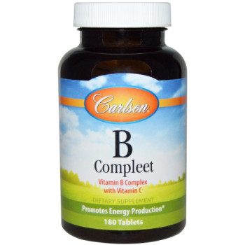 Carlson Labs, B·Compleet, Vitamin B Complex with Vitamin C - 180 Tablets