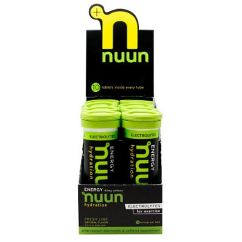 Nuun Hydration, Electrolyte + Caffeine Drink Tablets, Fresh Lime - 8 Tubes (1 Box)