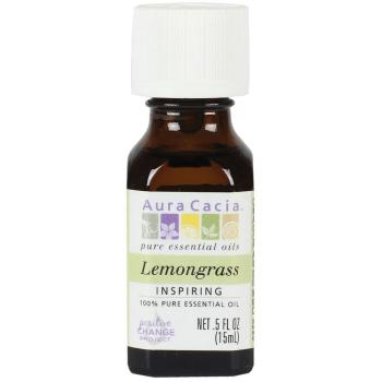 Aura Cacia, 100% Pure Essential Oil, Lemongrass, Inspiring - 0.5 fl oz (15 ml)