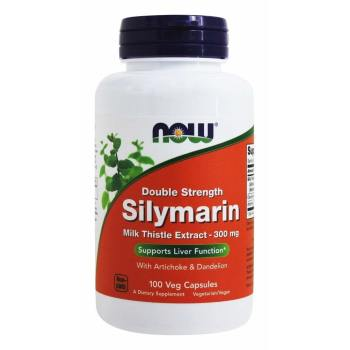 Now Foods, Silymarin, Milk Thistle Extract with Artichoke & Dandelion, Double Strength, 300 mg - 100 Veg Capsules